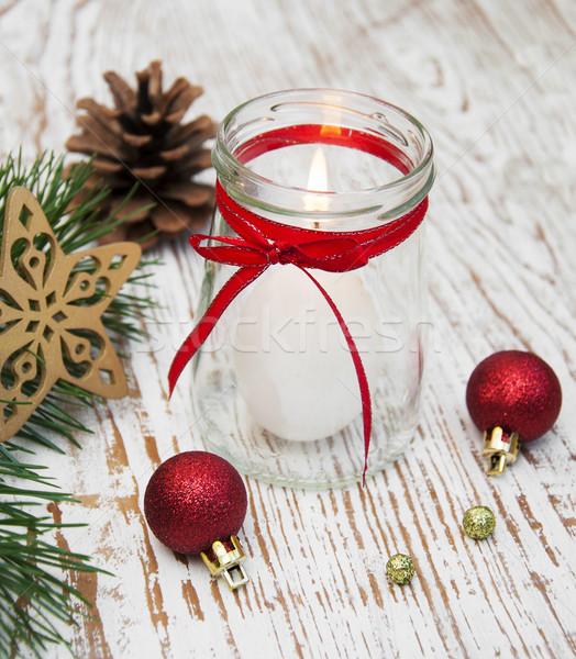Navidad decoración vela pelota pino rama Foto stock © Es75