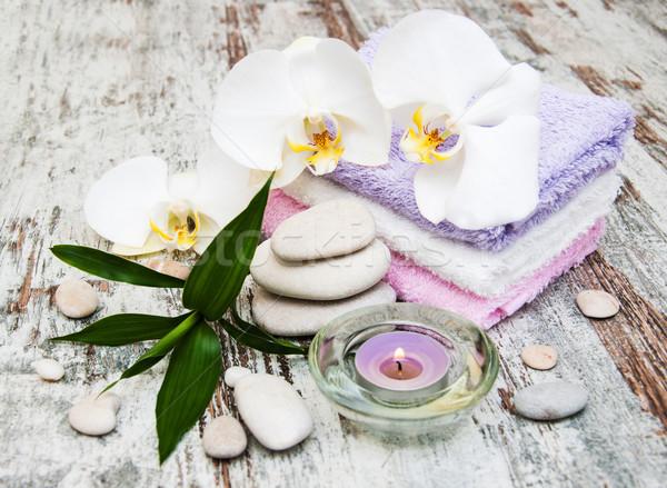 Orchidées spa still life fleurs serviettes ion Photo stock © Es75