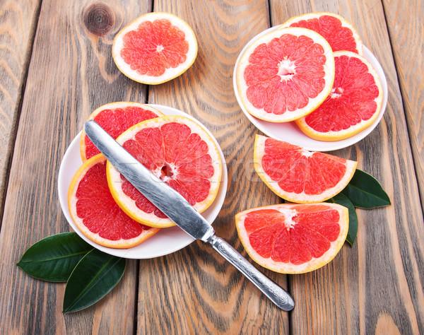 ナイフ 古い 木製のテーブル 食品 木材 フルーツ ストックフォト © Es75