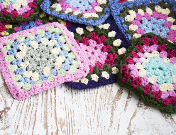 трикотажный ткань подробность вязанье бабушка Сток-фото © Es75