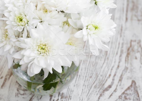 Fehér krizantém váza fából készült virág természet Stock fotó © Es75