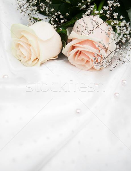 Rosas blanco seda dos flores textura Foto stock © Es75