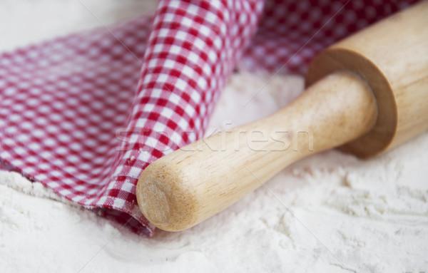 小麦粉 麺棒 木板 表 小麦 白 ストックフォト © Es75