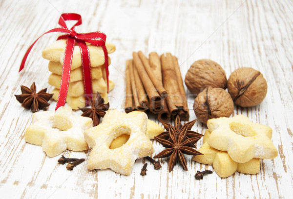 gingerbread cookies, nuts and spices Stock photo © Es75
