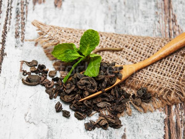 Chá verde de folha comida natureza Foto stock © Es75
