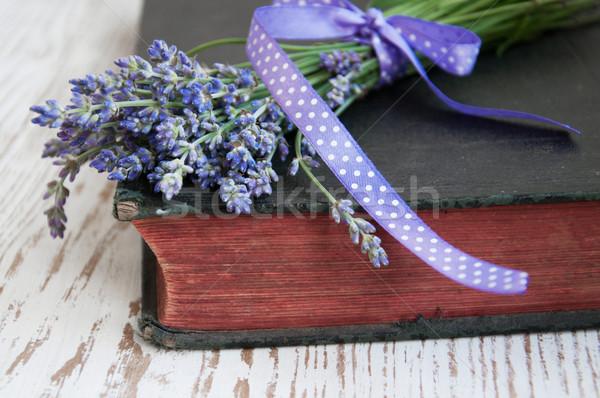 Lawendy starej książki książki czytania wstążka Zdjęcia stock © Es75