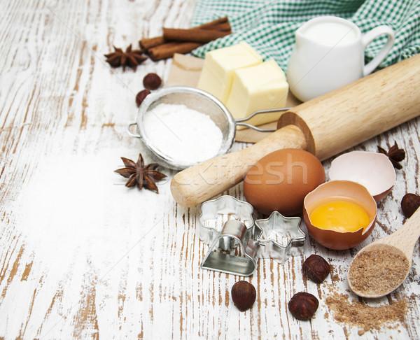 Stock fotó: Sütés · hozzávalók · tojások · liszt · vaj · fából · készült