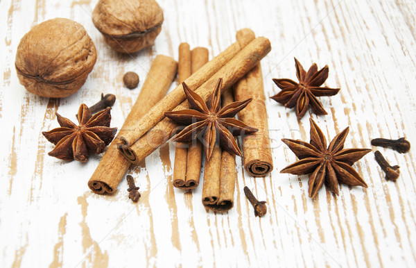 Star anis,  cinnamon stick, walnut and cloves Stock photo © Es75