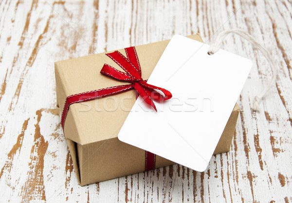 vintage gift box package with blank  tag Stock photo © Es75