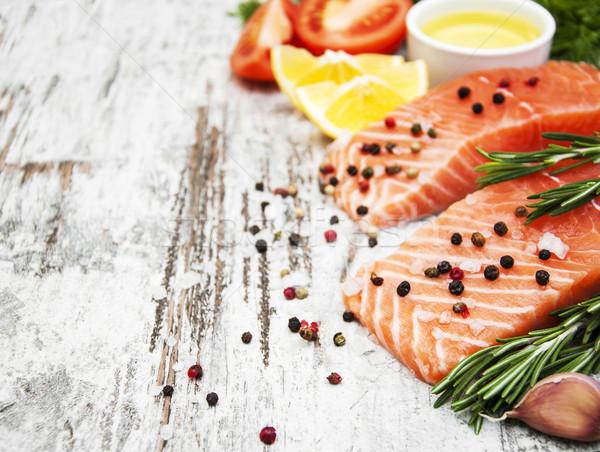 Foto stock: Fresco · salmão · filé · aromático · ervas · temperos