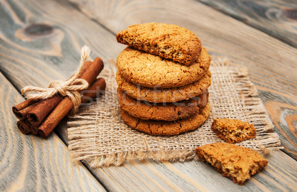 オートミール クッキー 古い 木製 ケーキ グループ ストックフォト © Es75