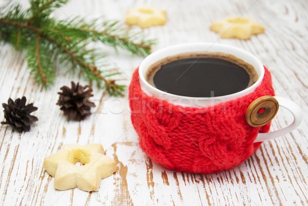 Taza café Navidad de punto rústico Foto stock © Es75