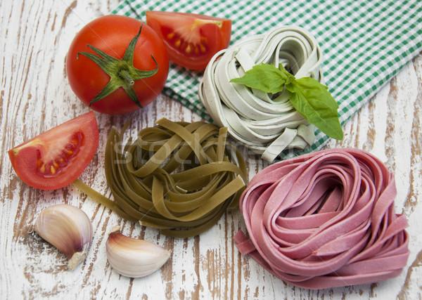 Pasta ajo tomates madera Foto stock © Es75