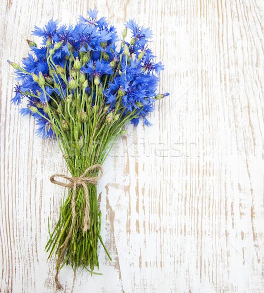 Blu vecchio bianco legno fiori foglia Foto d'archivio © Es75