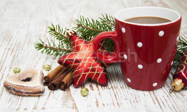 Noël cappuccino tasse vacances chocolat vert Photo stock © Es75