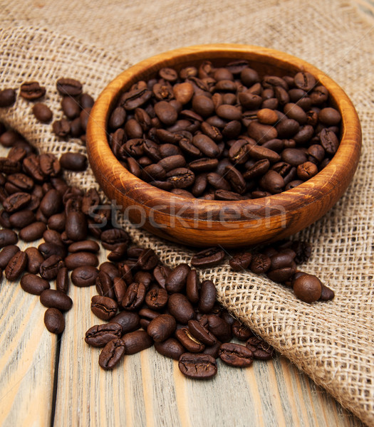 Granos de café arpillera tejido textura naturaleza Foto stock © Es75