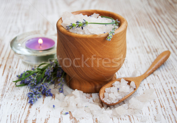 Mortar and pestle with lavender salt Stock photo © Es75