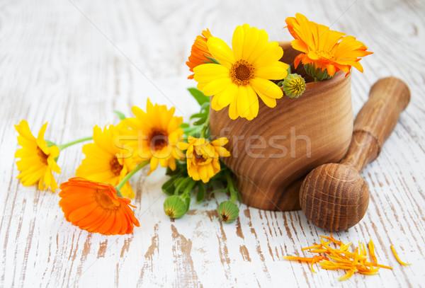 Calendula flowers and mortar Stock photo © Es75
