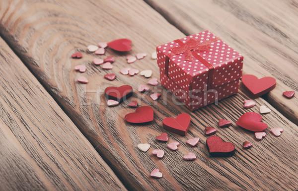 Gift box and hearts - vintage toning Stock photo © Es75