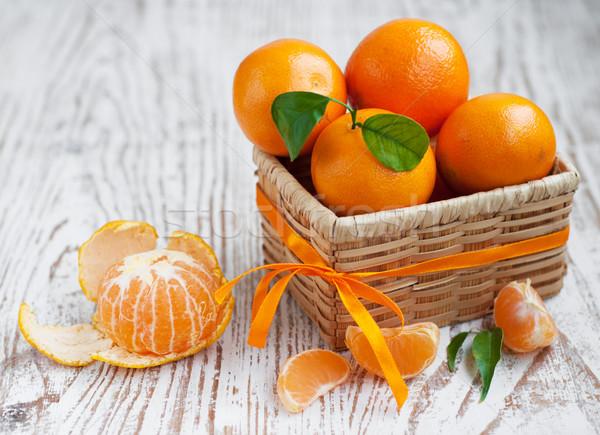 Mandarin kosár friss természet édes egészséges Stock fotó © Es75