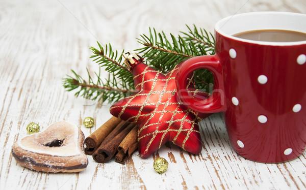 Рождества капучино Кубок праздник шоколадом красный Сток-фото © Es75