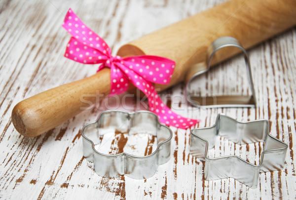 Kurabiye pin haddeleme ahşap gıda arka plan Metal Stok fotoğraf © Es75