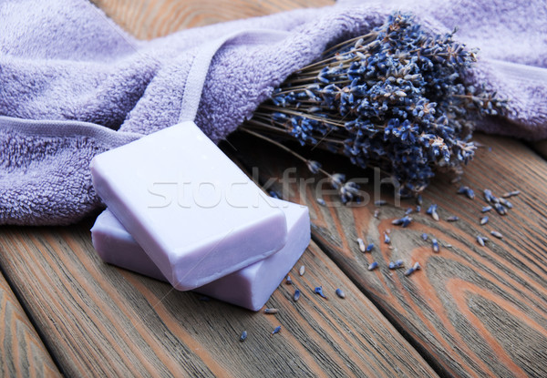 Stock photo: Handmade lavender soap