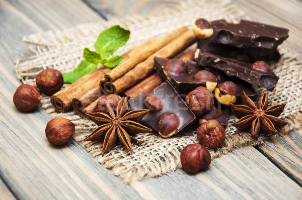 темный шоколад орехи специи продовольствие шоколадом Сток-фото © Es75