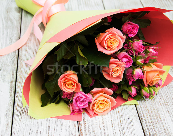 Bouquet of pink roses Stock photo © Es75
