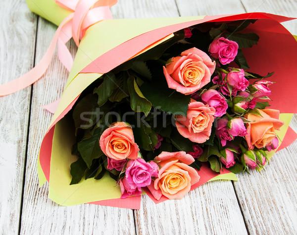 Ramo rosa rosas hermosa flor textura Foto stock © Es75