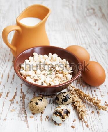 здорового мюсли пшеницы молоко яйца Сток-фото © Es75