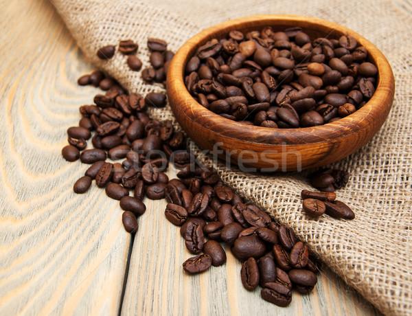 Kahve çekirdekleri çuval bezi kumaş ahşap doku doğa Stok fotoğraf © Es75