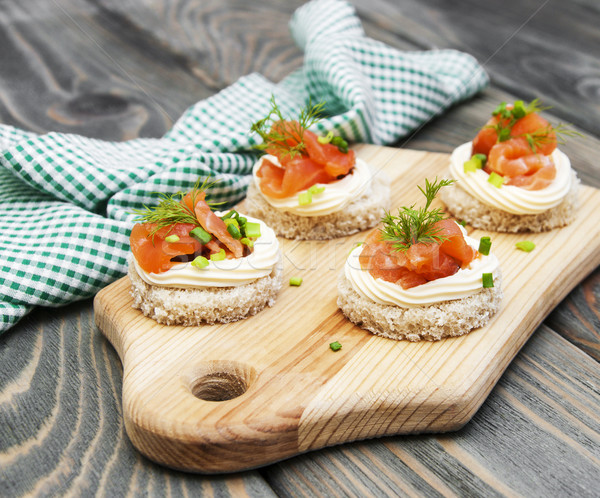 canape with salmon  Stock photo © Es75