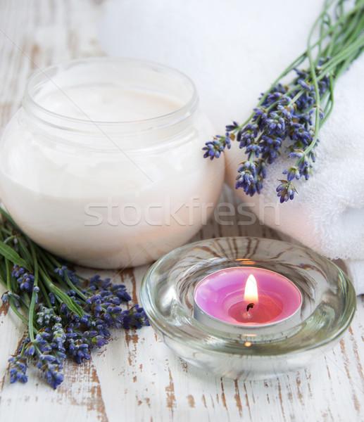 Wellness produktów Świeca lawendy krem masażu Zdjęcia stock © Es75