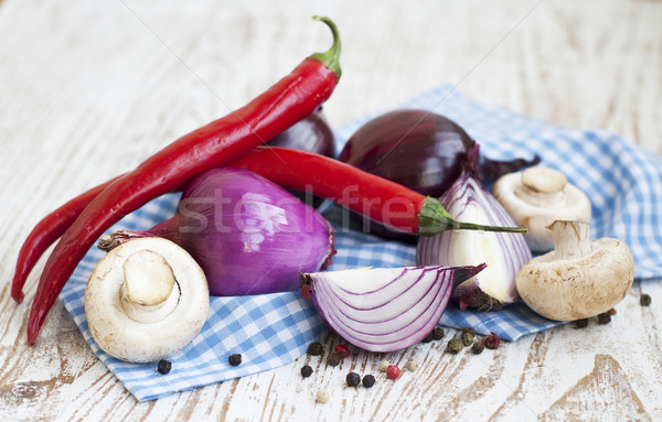 chilis, red onion,  mushrooms and garlic Stock photo © Es75