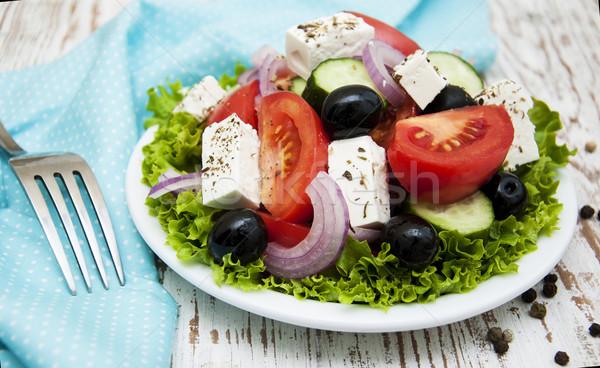 新鮮な ギリシャ語 サラダ プレート 木製 食品 ストックフォト © Es75