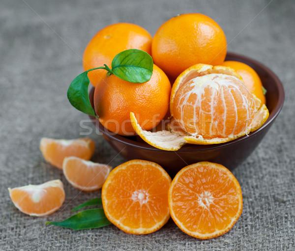 Mandarina tazón frescos arpillera naturaleza Foto stock © Es75