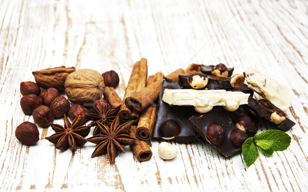 Stock photo: Dark and white chocolate with nuts