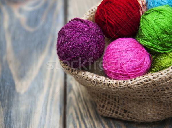 Kleur wollen jute zak oud hout Stockfoto © Es75