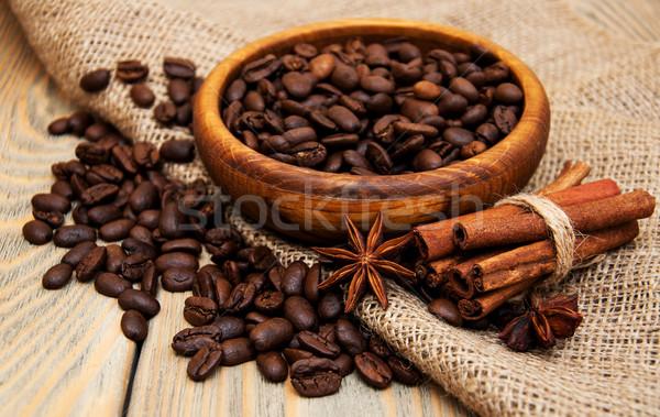 Koffiebonen jute weefsel houten textuur natuur Stockfoto © Es75