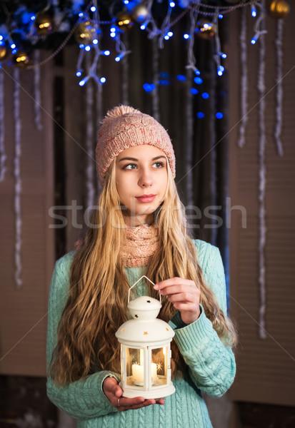 Stock fotó: Csinos · lány · elemlámpa · mosoly · hó · szépség