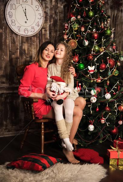 Stockfoto: Moeder · dochter · kerstboom · vakantie · christmas · familie