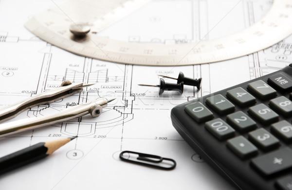 Photo stock: Architecture · blueprints · détail · dessin · outils · bureau