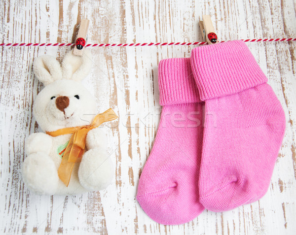 Baby socks and toy Stock photo © Es75