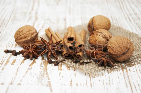 Star anis,  cinnamon stick, walnut and cloves Stock photo © Es75