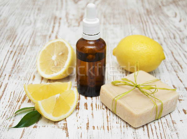 handmade lemon soap and essential oil Stock photo © Es75