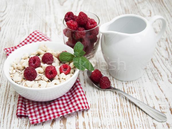 Stock fotó: Gabona · müzli · málna · egészséges · reggeli · étel