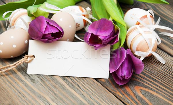 Пасху пасхальных яиц тюльпаны лента цветы дерево Сток-фото © Es75