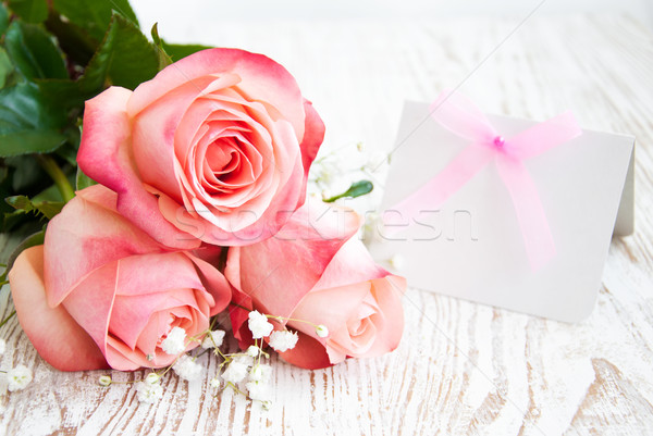 Carte vierge un message rose roses bois papier Photo stock © Es75