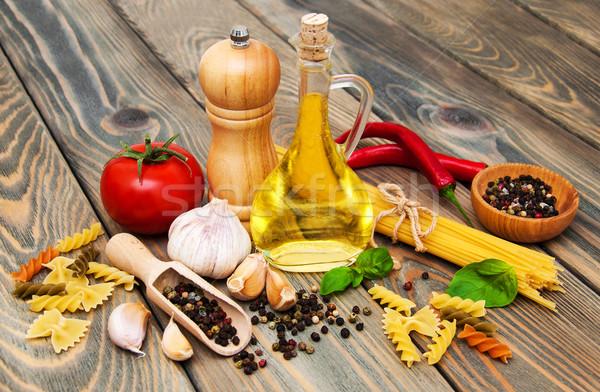 パスタ 材料 スパゲティ トマト イタリア語 木材 ストックフォト © Es75